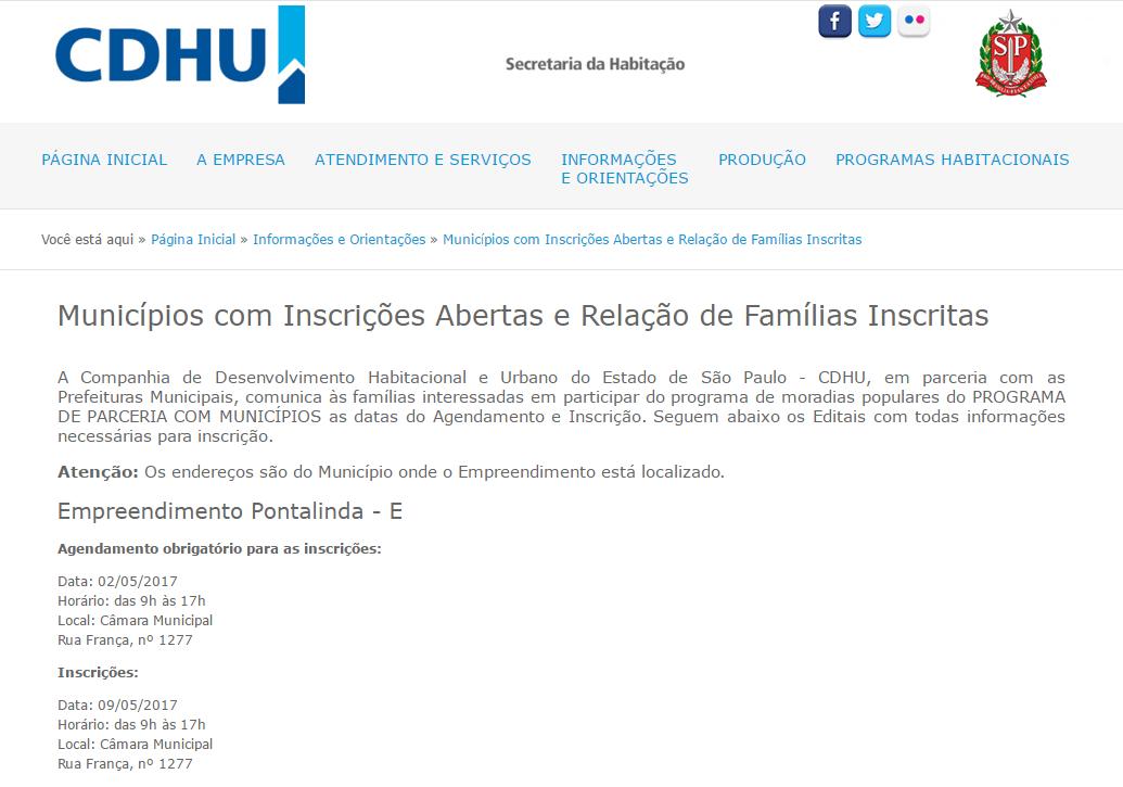 CDHU Inscrições 2020