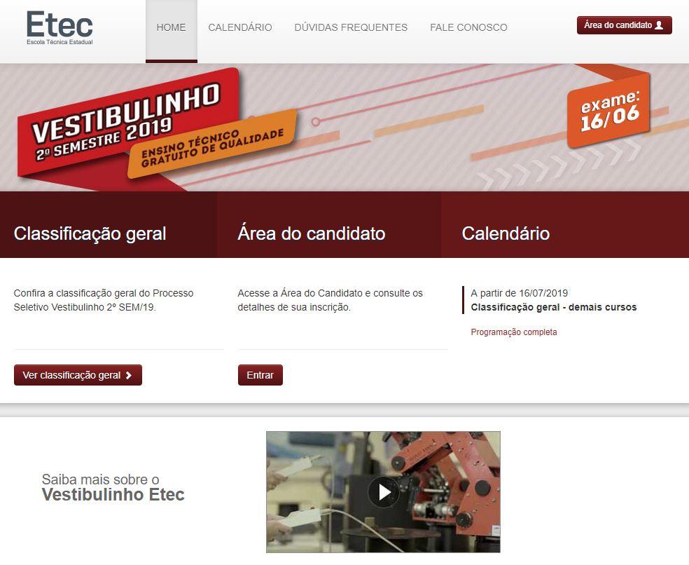 Site do ETEC - Inscrições