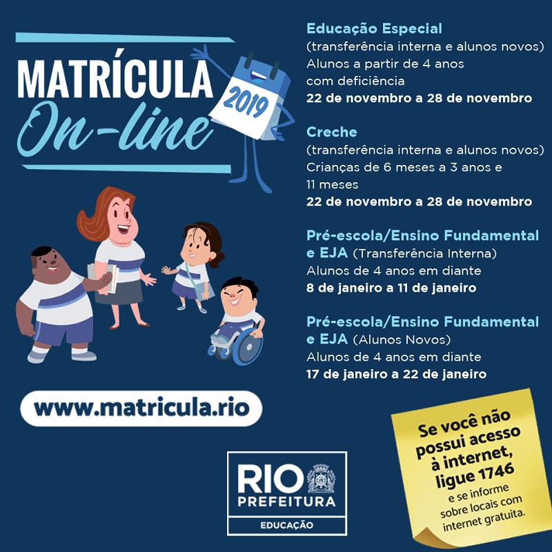 Calendário da Matrícula Rio