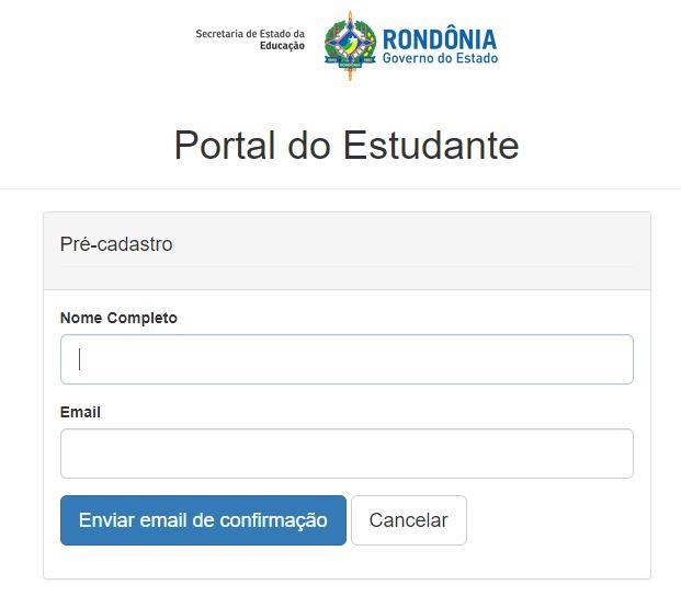 Cadastro Portal do Aluno SEDUC RO