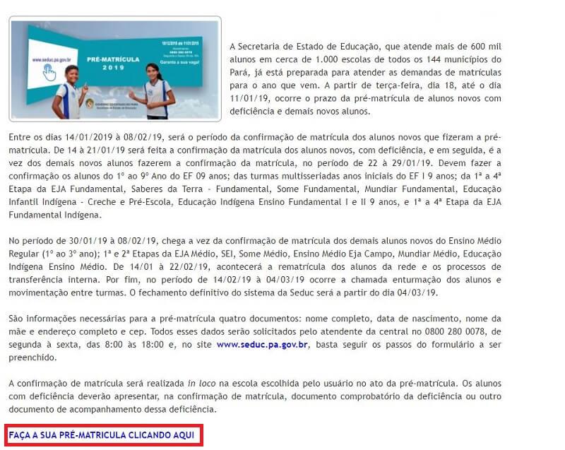 Pré-Matrícula Online
