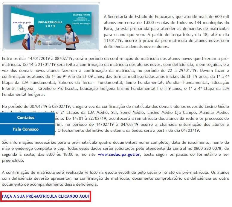Matrícula Online SEDUC PA